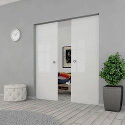 Drzwi Szklane Przesuwne 150(2X75) GEO SATYNA KASETA