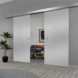 Drzwi Szklane Przesuwne 150(2X75) GEO SATYNA SILVER