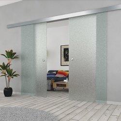 Drzwi Szklane Przesuwne 150(2X75) MILENIUM SILVER