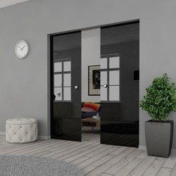 Drzwi Szklane Przesuwne 150(2X75) VSG CZARNE KASETA