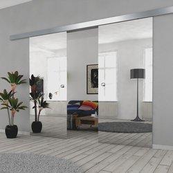 Drzwi Szklane Przesuwne 150(2X75) VSG LUSTRO/LUSTRO SILVER