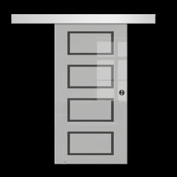 Drzwi Szklane Przesuwne 65 GEO12 SILVER