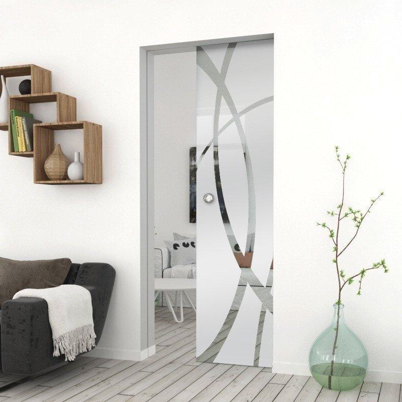 Drzwi Szklane Przesuwne 65 GEO14 KASETA