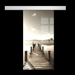 Drzwi Szklane Przesuwne 650X2095 8MM ESG/VSG GRAFIKA 2STR GR-H04 + SYSTEM PRZESUWNY
