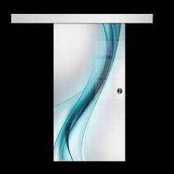 Drzwi Szklane Przesuwne 650X2095 8MM ESG/VSG GRAFIKA 2STR GR-H30 + SYSTEM PRZESUWNY