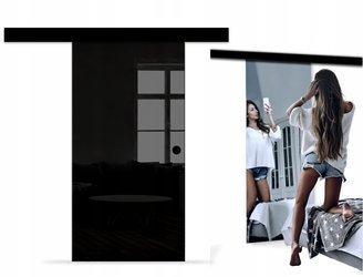 Drzwi Szklane Przesuwne 75 LUSTRO/CZARNE NERO