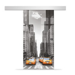 Drzwi Szklane Przesuwne 850X2095 8MM ESG/VSG GRAFIKA 2STR GR-H013 + SYSTEM PRZESUWNY