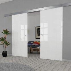 Drzwi Szklane Przesuwne PODWÓJNE 1900X2095 8MM FLOAT BIAŁE VSG/ESG
