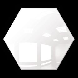 Kafelek lustrzany 25X21,6 Heksagon 4mm Szlif Poler Białe