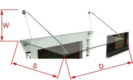 Daszek Szklany Zadaszenie Nad Drzwi 150X120 INOX