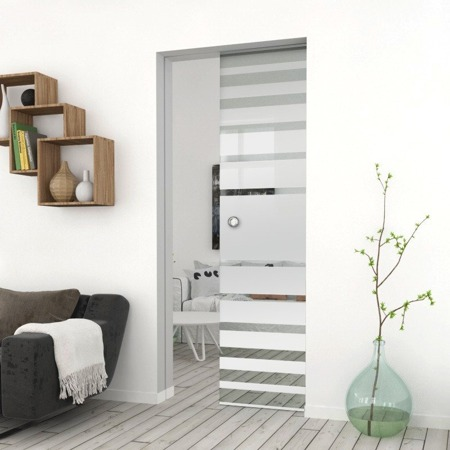 Drzwi Szklane Przesuwne 1050X2095 8MM ESG GEO3 + KASETA