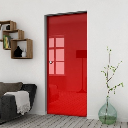 Drzwi Szklane Przesuwne 1050X2095 8MM ESG/VSG CZERWONE+ KASETA