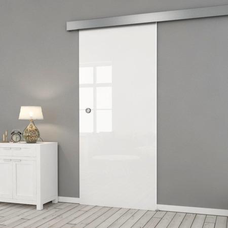 Drzwi Szklane Przesuwne 1050X2095 8MM FLOAT ESG/VSG BIAŁE + SYSTEM PRZESUWNY
