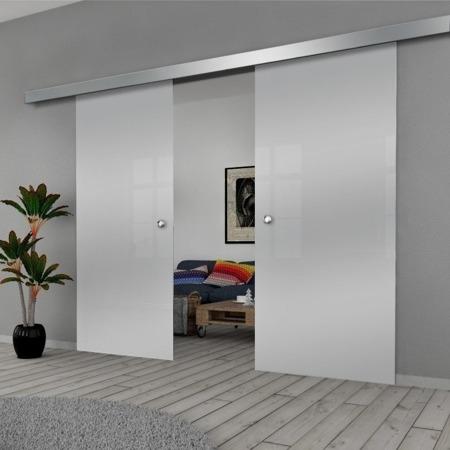 Drzwi Szklane Przesuwne 1700X2095 8MM ESG GEO SATYNA + SYSTEM PRZESUWNY