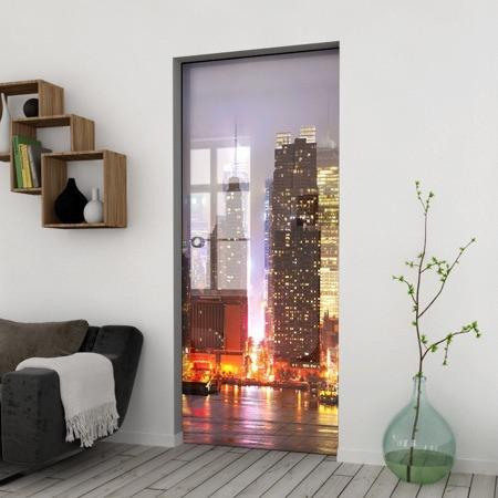 Drzwi Szklane Przesuwne 650X2095 8MM ESG/VSG GRAFIKA 2STR GR-H011 + KASETA