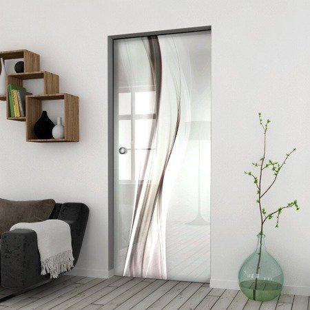 Drzwi Szklane Przesuwne 650X2095 8MM ESG/VSG GRAFIKA 2STR GR-H014 + KASETA