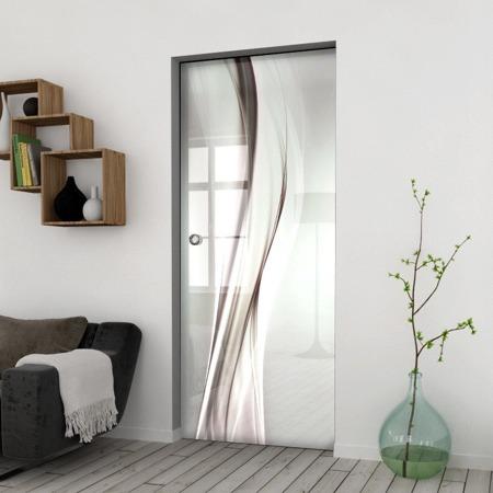 Drzwi Szklane Przesuwne 650X2095 8MM ESG/VSG GRAFIKA 2STR GR-H018 + KASETA