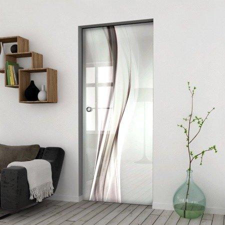 Drzwi Szklane Przesuwne 750X2095 8MM ESG/VSG GRAFIKA 2STR GR-H016 + KASETA