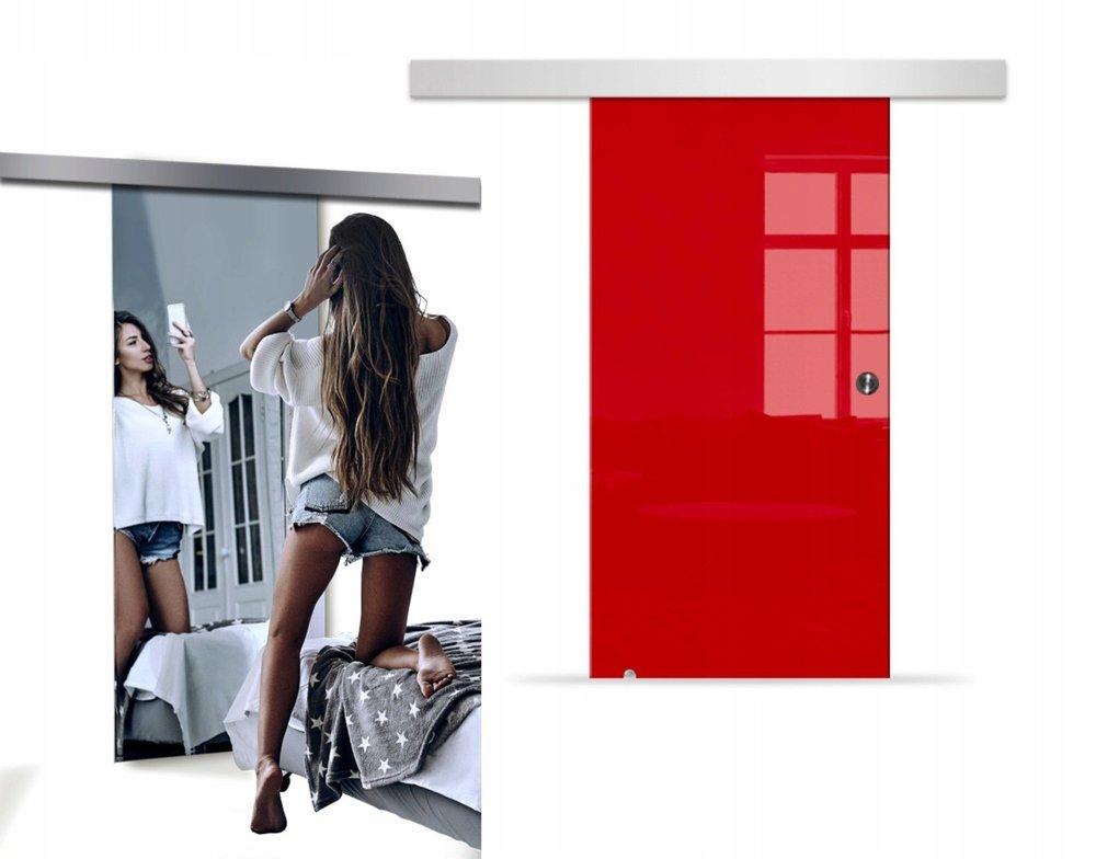 Drzwi Szklane Przesuwne 85 VSG LUSTRO/CZERWONE SILVER