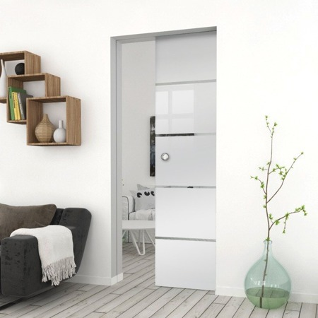 Drzwi Szklane Przesuwne 850X2095 8MM ESG GEO11 + KASETA