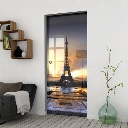 Drzwi Szklane Przesuwne 850X2095 8MM ESG/VSG GRAFIKA 2STR GR-H023 + KASETA