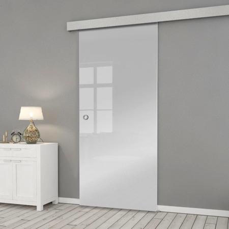 Drzwi Szklane Przesuwne 850X2095 8MM ESG/VSG SATYNA + SYSTEM PRZESUWNY