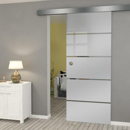 Drzwi Szklane Przesuwne 950X2095 8MM ESG GEO11 + SYSTEM PRZESUWNY