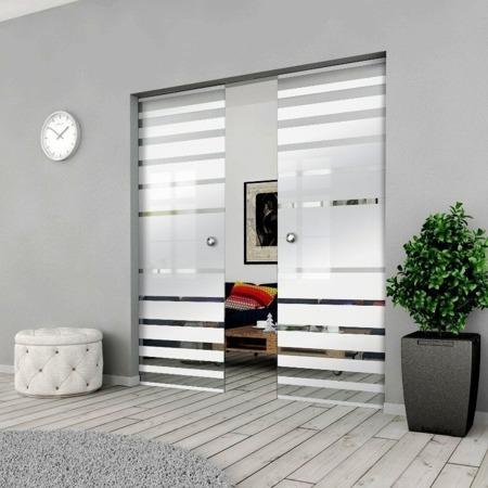 Drzwi Szklane Przesuwne PODWÓJNE 1500X2095 8MM ESG GEO3 + KASETA