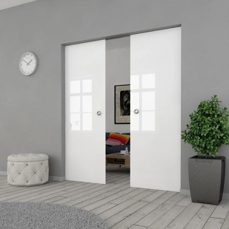 Drzwi Szklane Przesuwne PODWÓJNE 1500X2095 8MM FLOAT ESG/VSG BIAŁE + KASETA