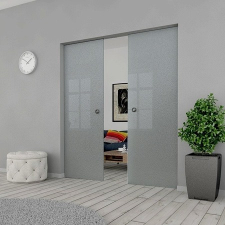 Drzwi Szklane Przesuwne PODWÓJNE 2100X2095 8MM ESG MILENIUM + KASETA